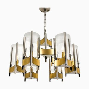 Nine-Light Chrome and Glass Chandelier by Gaetano Sciolari, 1960s