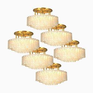 Lampada grande in vetro soffiato e ottone di Doria