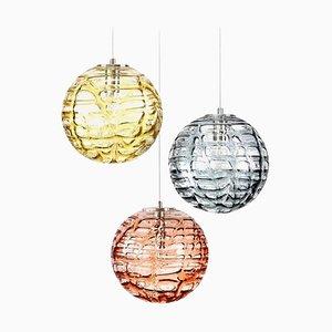 Lámparas colgantes de cristal de Murano estilo Venini, años 60. Juego de 3