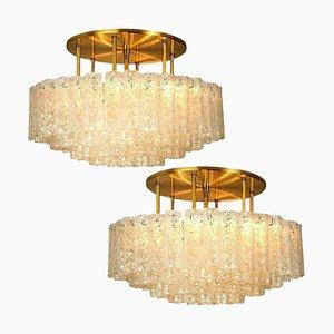 Large Blown Glass Brass Flush Mount Light Fixtures from Doria, Set of 2