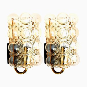 Glass Wall Lights Sconces by Helena Tynell for Glashütte Limburg, 1960, Set of 2