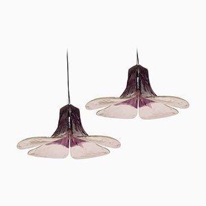 Lampe à Suspension Modèle LS185 Violette par Carlo Nason pour Mazzega