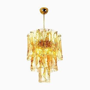 Lampadario in vetro trasparente e color ambra di Doria, anni '70