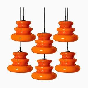 Lampada a sospensione arancione di Peill & Putzler, anni '70