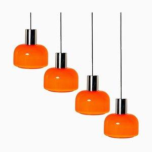 Lampada a sospensione in vetro soffiato arancione di Peill & Putzler, anni '70