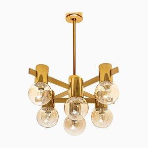 Lampada grande in ottone e vetro nello stile di Jacobsson, anni '60