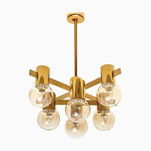 Large Brass and Glass Light Fixture in the Style of Jacobsson, 1960s