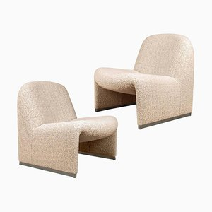 Alky Chairs by Piretti with New Upholstery by Boucle Nacre Erose Deda, Set of 2