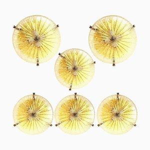 Lámpara de montaje o pared gruesa de vidrio y latón hecha a mano, años 60