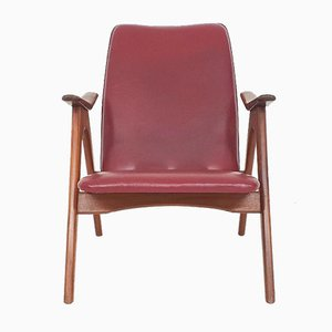 Bordeaux Red Lounge Chair by Louis Van Teeffelen for Webe, The Netherlands 1960s