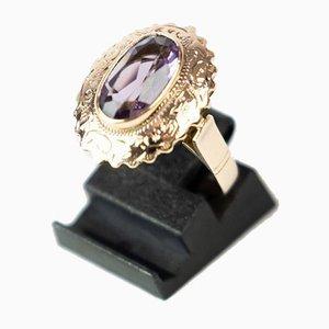 Anello decorato con ametista e oro a 14 carati