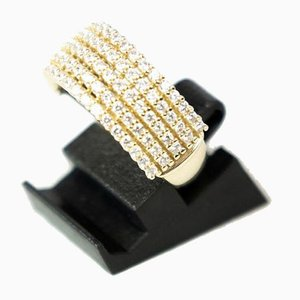 Ring of Zirconia and 14 Carat Gold