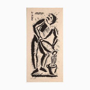 Arturo Peyrot, figura, grabado sobre madera, mediados del siglo XX