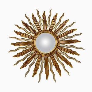 Specchio grande Mid-Century dorato a forma di sole, anni '60