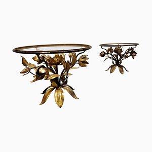Vintage Gilt Metal Flower Side Tables, 1960s, Set of 2