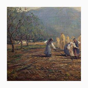 Italian Landscape with Women Harvesting by William E Johnsen