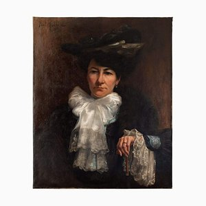 Portrait of A Lady with an Umbrella by Paul-antoine Hallez