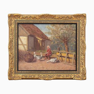 Farmyard Scene with Geese by Wilhelm Dahlbom