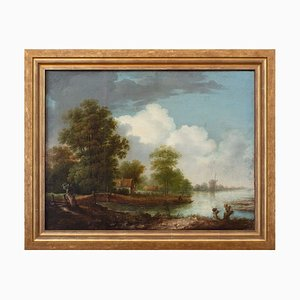19th-Century Dutch School River Landscape with House & Mill