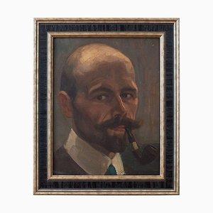Deutsches Schulportrait eines Herrn mit einer Pfeife