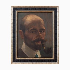 German School Portrait of A Gentleman with a Pipe
