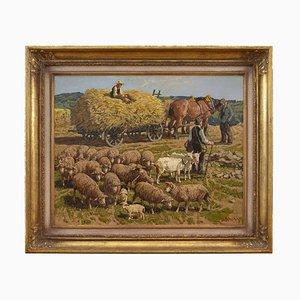 Rural Scene with Farmers & Cattle by Jo Strahn