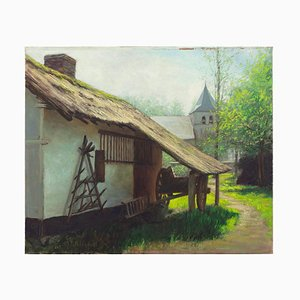 Farmhouse with Cart, Trees & Church by Maurice Wiliquet