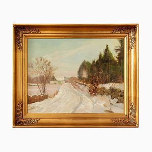 Winter Landscape with Track & Buildings von Harald Pryn