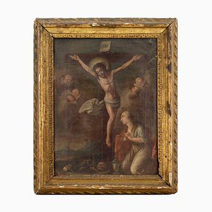 18th-Century Crucifixion with the Virgin Mary and Cherubs