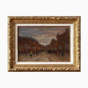 Escena de la calle impresionista con figuras de Antal Berkes