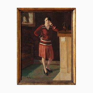 Portrait einer Frau in einem roten Rock von Henri Mathy
