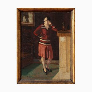 Portrait of a Woman in a Red Skirt by Henri Mathy