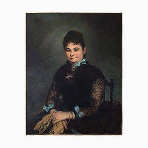 Lady Portrait mit Blauen Schleifen von Edgar Boutry