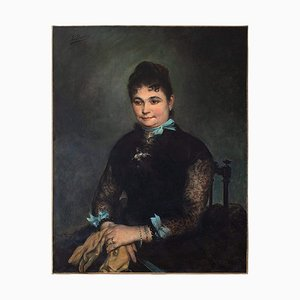 Portrait of a Lady with Blue Ribbons by Edgar Boutry
