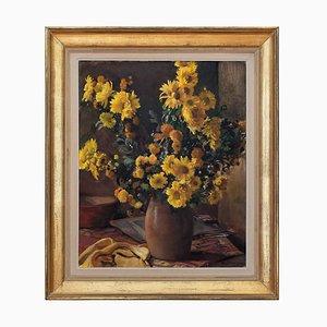 Stillleben mit gelben Chrysanthemen & Vase von Maurice Ehlinger