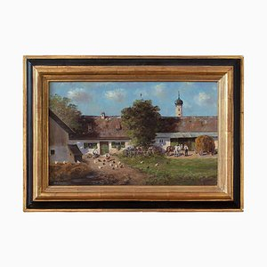 Farmyard Scene with Farmhouse & Chickens by Paul Haslbauer