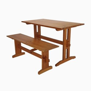 Mid-Century Pine Wood Bench and Dining Table, 1960s, Set of 2