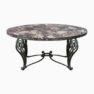 Marble and Wrought Iron Coffee Table, 1950