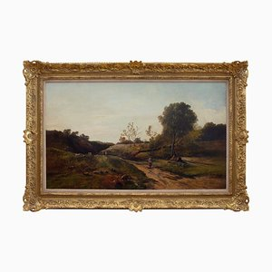 Landscape with Maids Tending the Flock von Charles Leslie