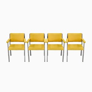 Metal and Chrome Armchairs, 1970s, Set of 4
