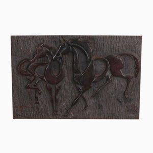 Cast Iron Plaque Depicting Dancing Horses, 1960s