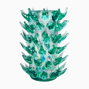 Aquamarina Murano Glass Vases by Luigi Camozzo, 1970s, Set of 2