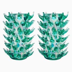 Jarrones Aquamarina de cristal de Murano de Luigi Camozzo, años 70. Juego de 2