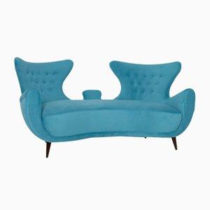 Blaues italienisches Mid-Century Sofa aus Samt, 1950er