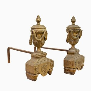 Antique Bronze Andirons, Set of 2