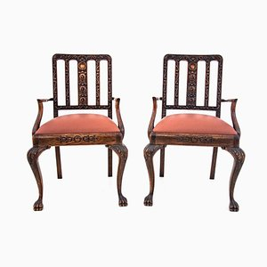 Antique Chippendale Style Armchairs, Circa 1900, Set of 2