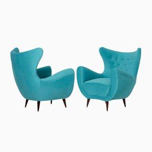Mid-Century Italian Light Blue Velvet Armchairs, Set of 2