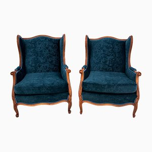 Antique French Wingback Armchairs, 1900s, Set of 2