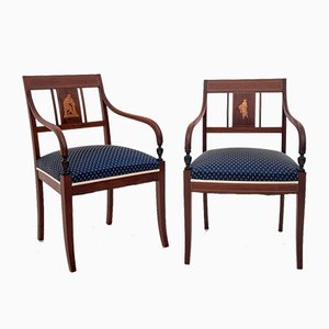 Restored Empire Style Inlaid Armchairs, Circa 1850, Set of 2
