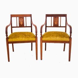 Restaurierte Armlehnstühle im Empire Stil mit Intarsien, ca. 1860, 2er Set
